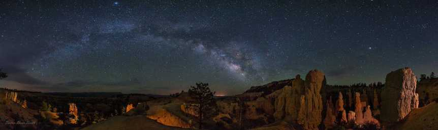 Bryce Canyon National Park Stargazing Panorama including the Milky Way