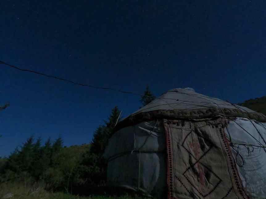 Yurt Camp in Kyrgyzstan at Night