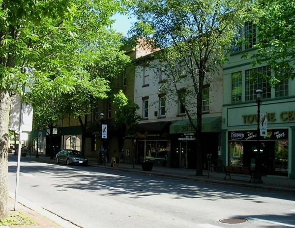 Queen Street in downtown Fredericton, named Canada's Great Street.