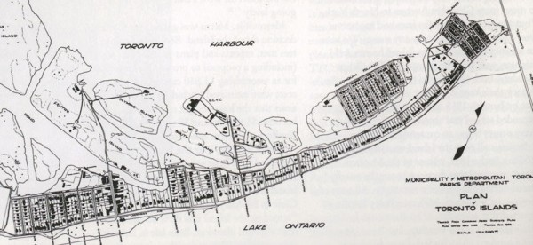 Toronto Island map at the peak of its population, from Derek Hayes' Historical Atlas of Toronto
