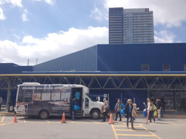 Ikeatowners take advantage of the neighbourhood's micro-transit line