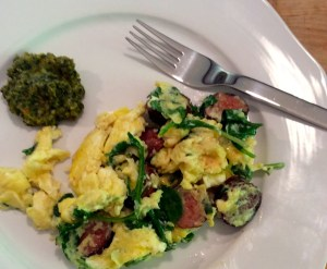 Brunch - Scrambled eggs with kale, sausage, parmesan and Hot Green Chili Spread