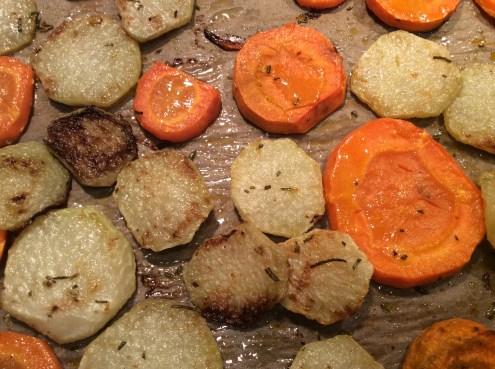 Roast carrots and kohlrabi