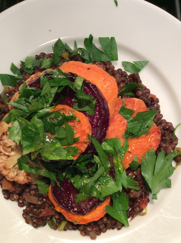 November in the kitchen – Lentils with Roast Vegetable Stacks