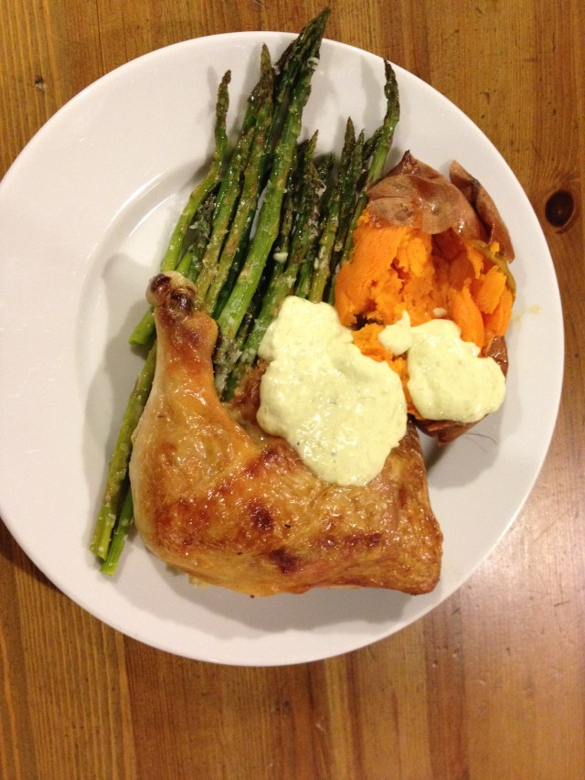 roast chicken quarters with asparagus and sweet potato