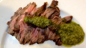 Skirt steak with chimichurri sauce