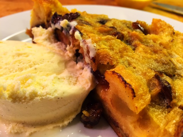 Bread and Butter Pudding with Ice crean