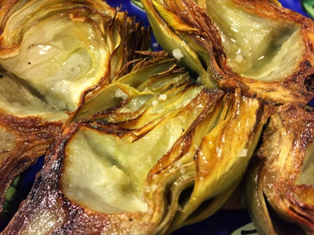 February in the Kitchen – Grilled Artichokes with Preserved Lemon Sauce