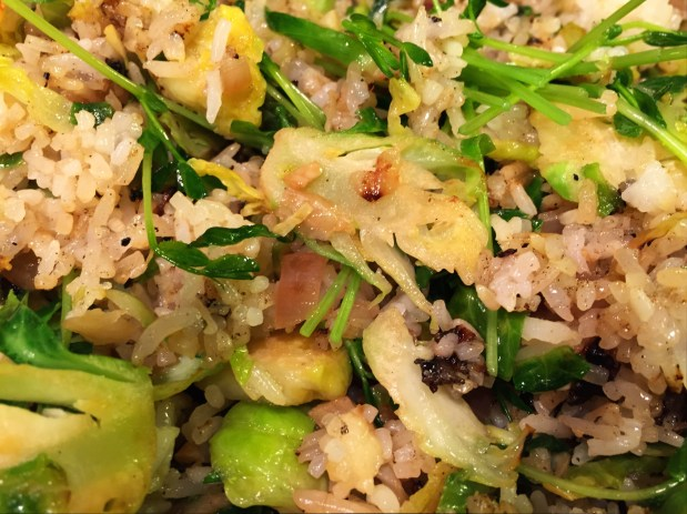 March in the Kitchen – Shaved Brussels Sprouts with Rice
