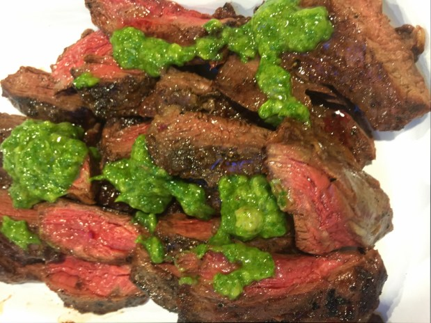 April in the Kitchen – Grilled Steak with Roast Garlic and Arugula Chimichurri