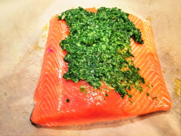 May in the Kitchen – Slow Roast Salmon with Herbed Lemon Verbena Pesto