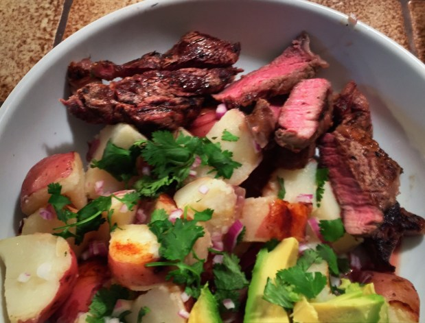 September in the Kitchen – Grilled Rib Eye Steaks with Potato Hobo Packs and Pickled Chilis