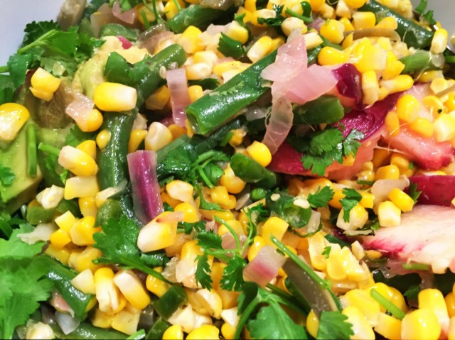 Corn and green bean salad with pickled shallots