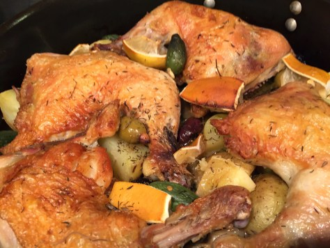 On Pan Chicken with Potatoes, Olives, and Lemon