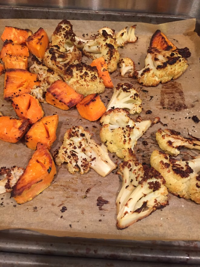 Roasted cauliflower and sweet potatoes