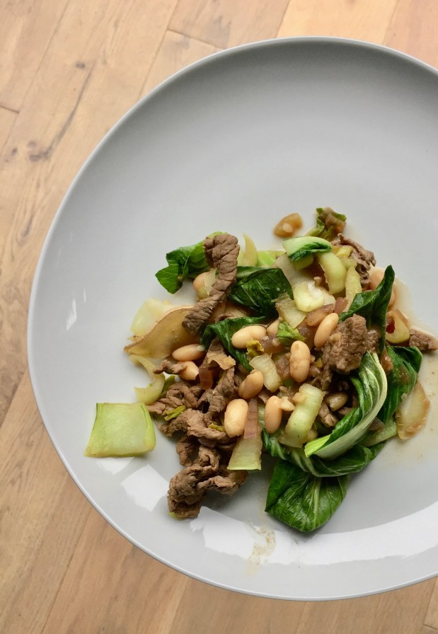 January – Stir-fried Steak with Baby Bok Choy, Garlic, Ginger, Red Onion and Cannellini Beans