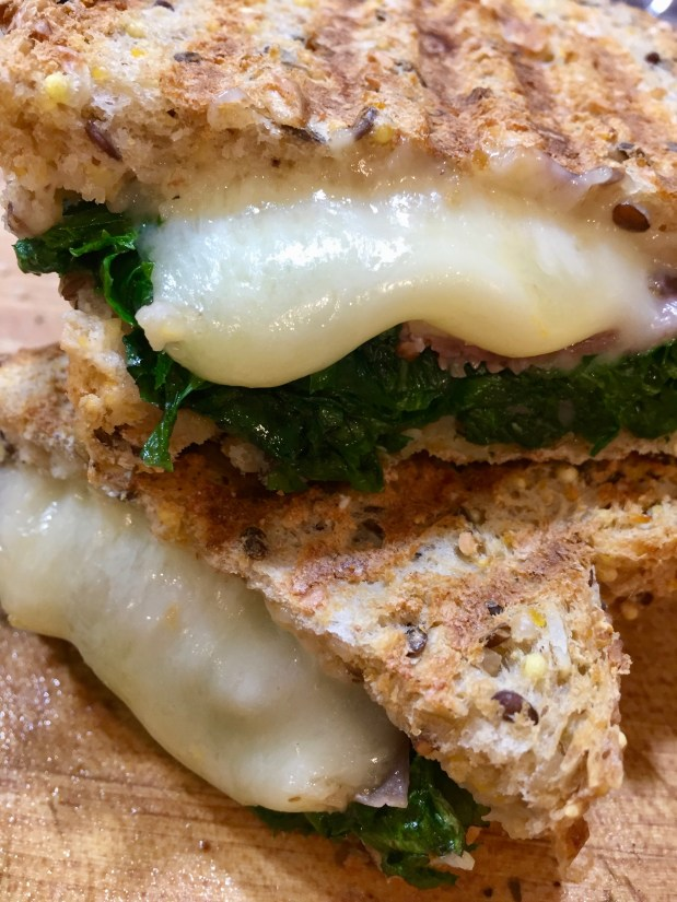 April – Grilled Cheese with Prosciutto and Kale