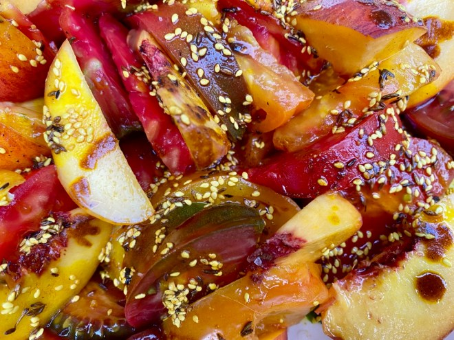 Tomato and Stone Fruit Salad with Seeds