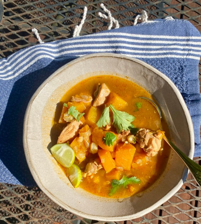 Butternut Hominy Chicken Stew