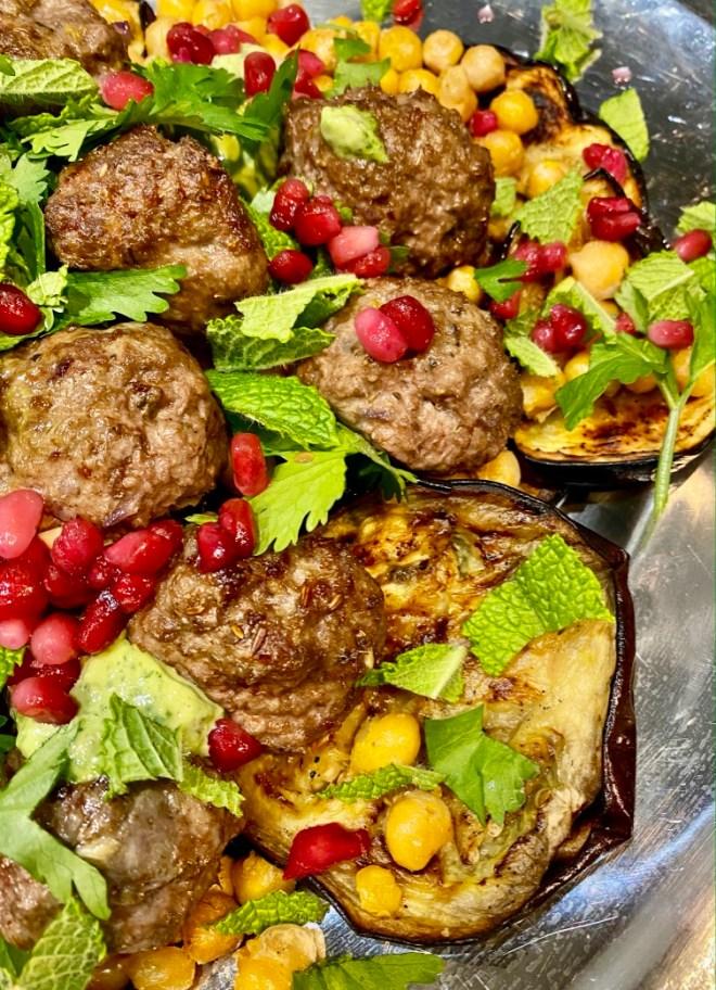 Crispy Lamb Meatballs with Grilled Eggplant