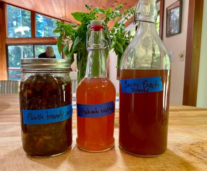 Brandied Peach Glaze, Rhubarb vodka and Peach Brandy