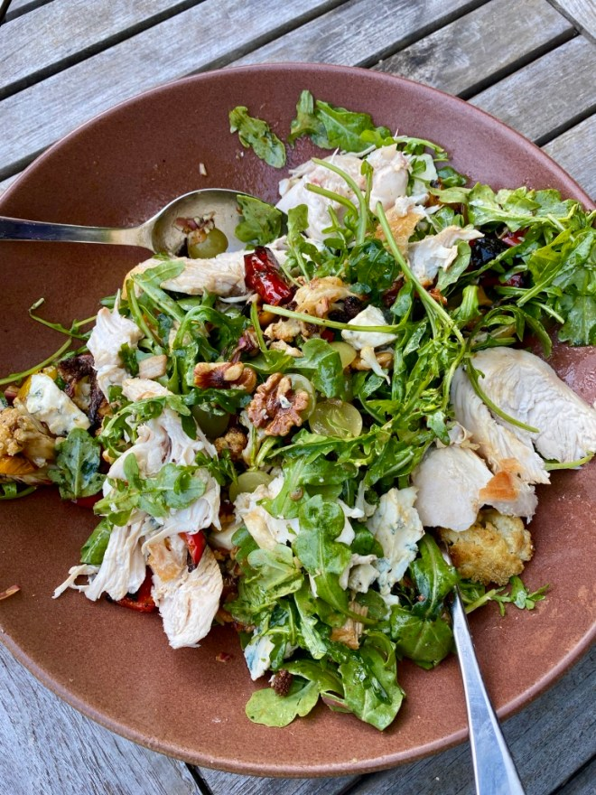 Warm Chicken Salad with Walnuts and Blue Cheese
