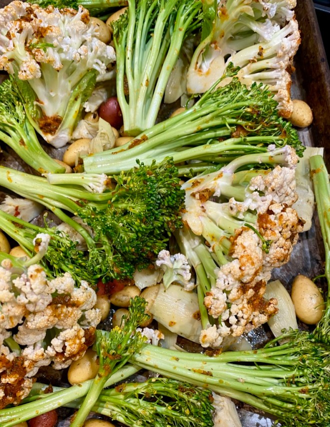 Sheet Pan Cauliflower, Potatoes and Broccoli - ready for the oven