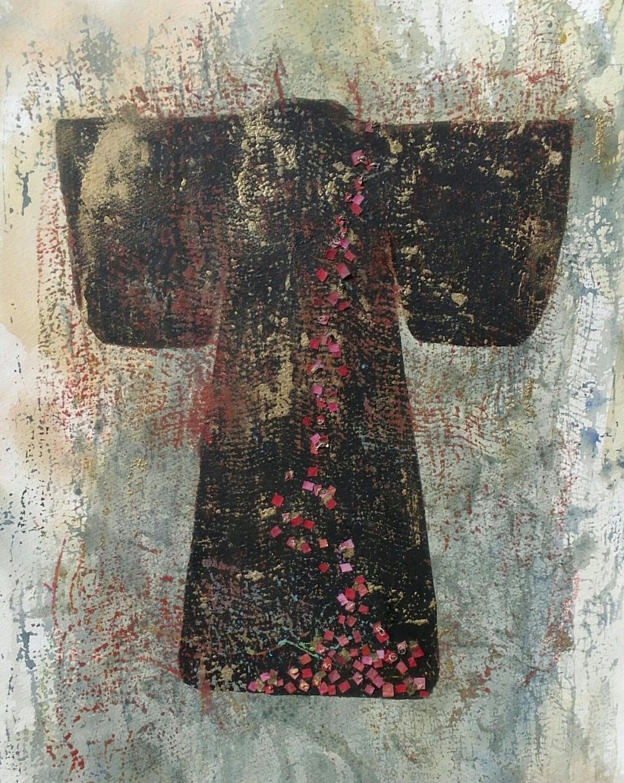 black gold and red kimono