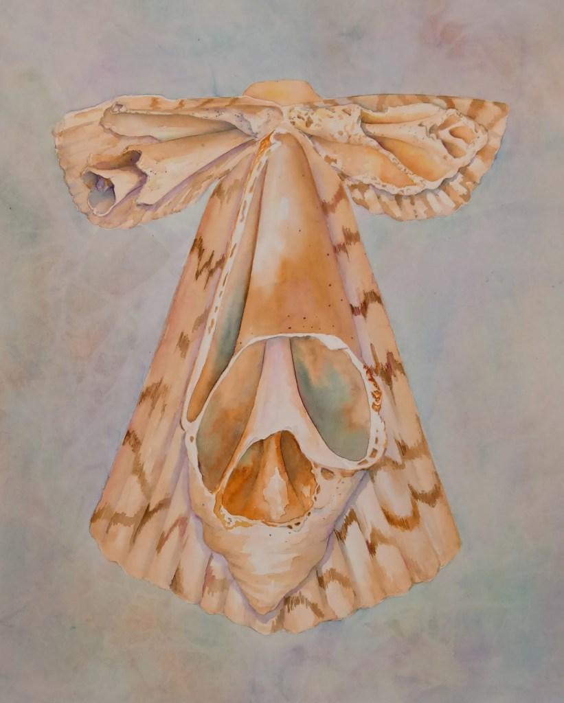 kimono painting of broken shells