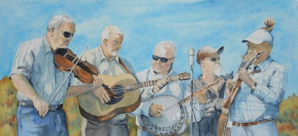 painting of bluegrass band