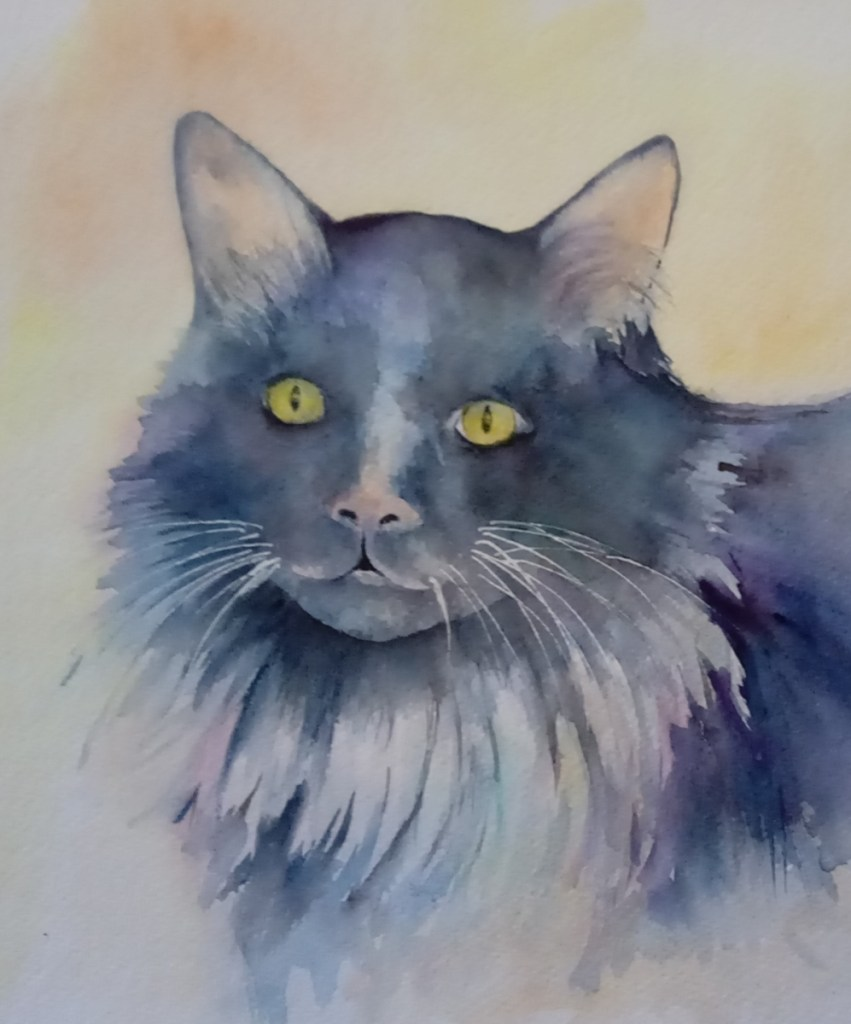 painting of black cat