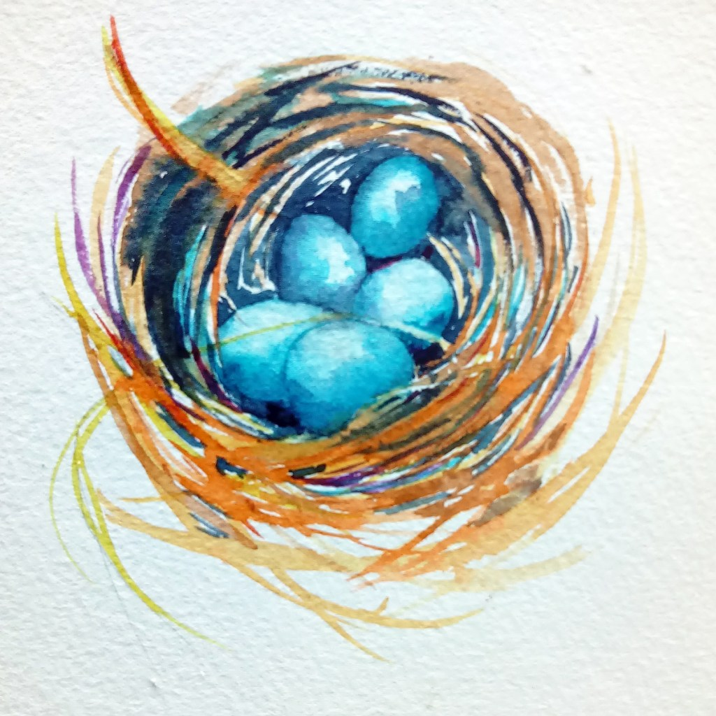 painting of bluebird eggs