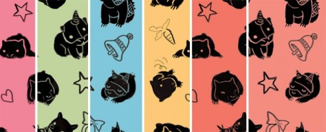 The various colours of baby wombat wrapping paper