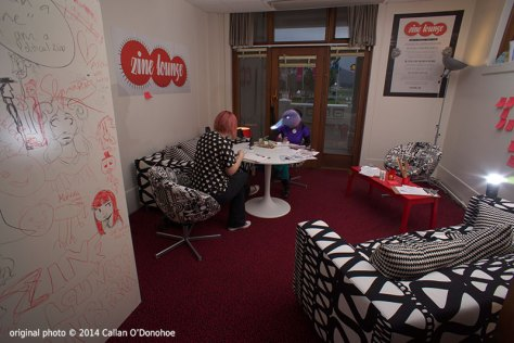 The MoAD Zine Lounge. Photo by and © Callan O'Donohoe 2014. Unfortunately edited by SpAE