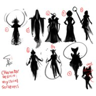 Concept art: silhouettes for the mystical sorceress