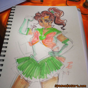 A convention sketch of Sailor Jupiter, shortly before I erased all the pencil lines and found it a new home. Marker, 2014.
