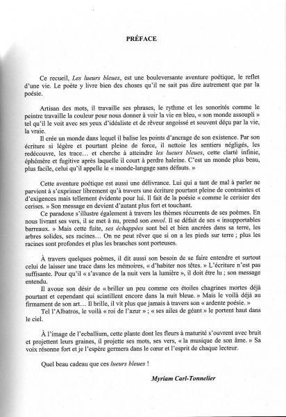 Exemple De Préface D Un Livre : exemple, préface, livre, Préface, Recueil, Lueurs, Bleues