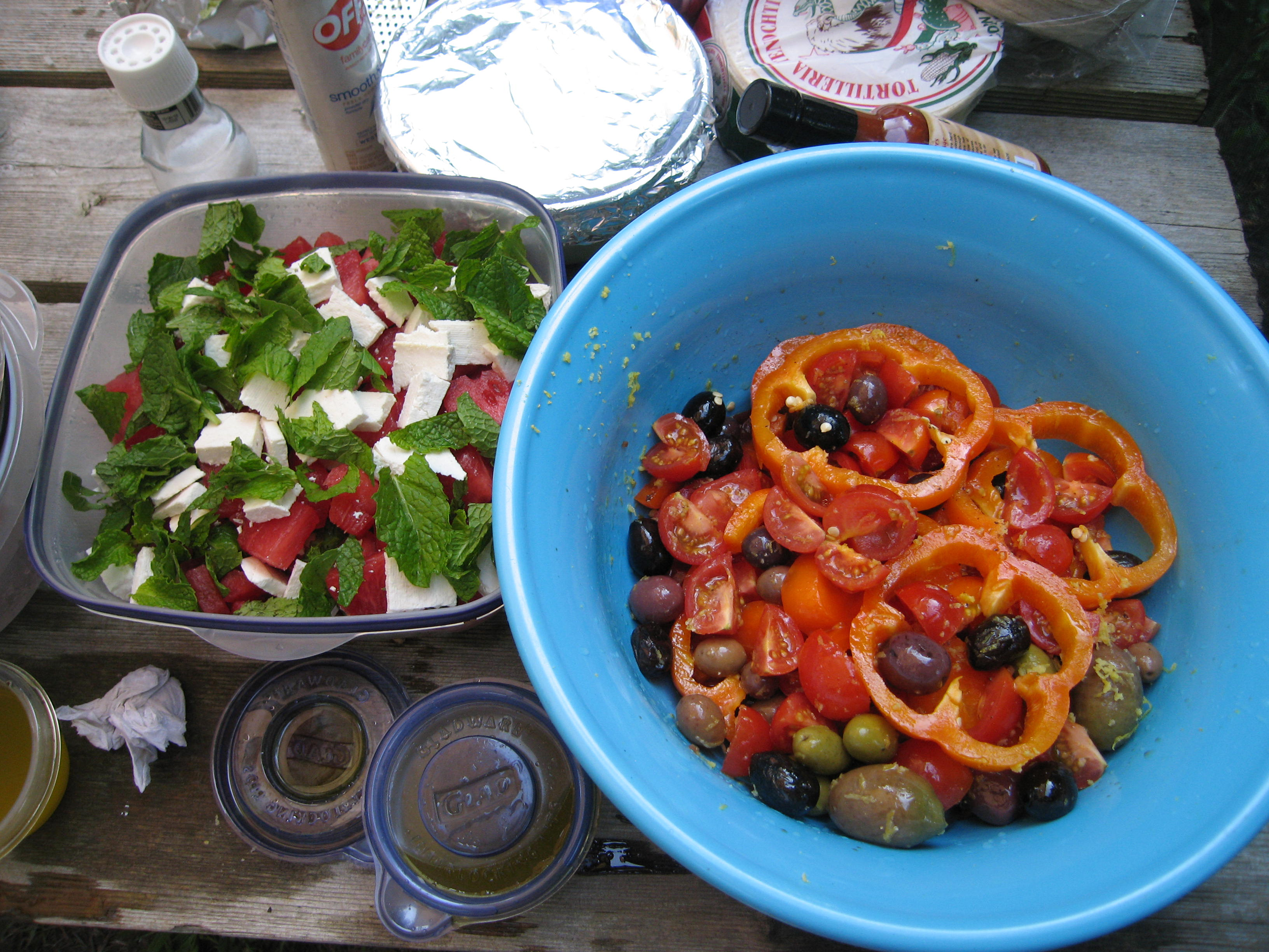 Watermelon salad and Tomoato and olives with lemon zest
