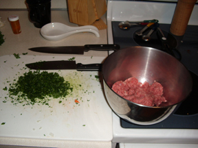 making the meatballs