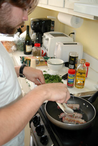 Browning the braciole