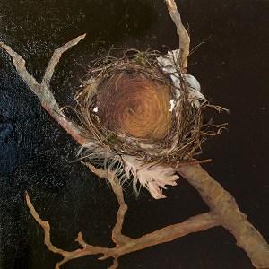 mixed media nest in tree branch