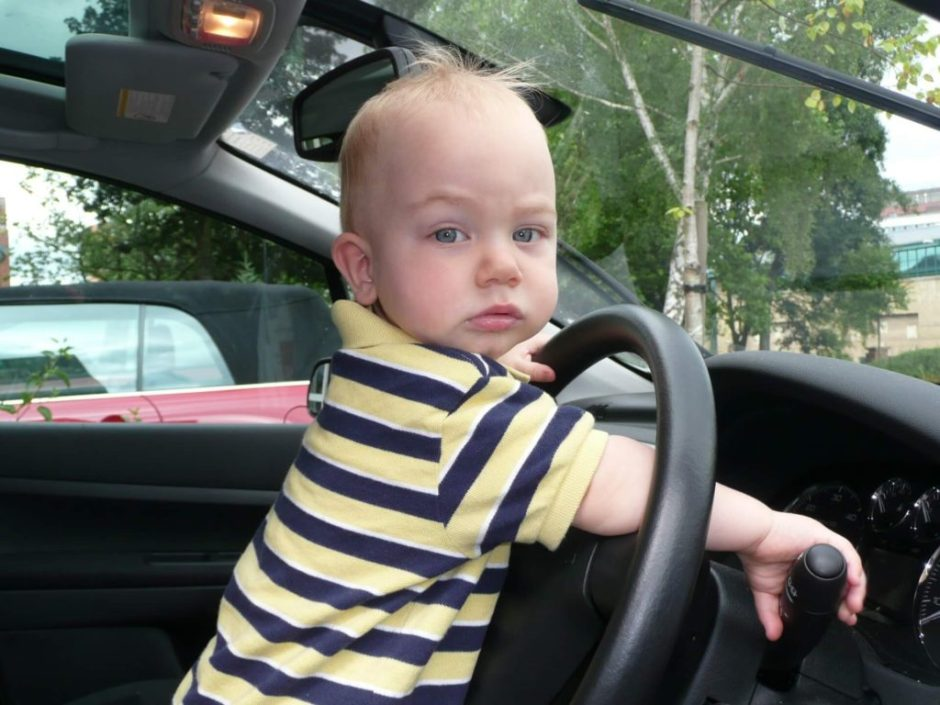 Child driving car