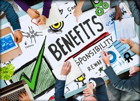 Photo showing benefits items on conference room table