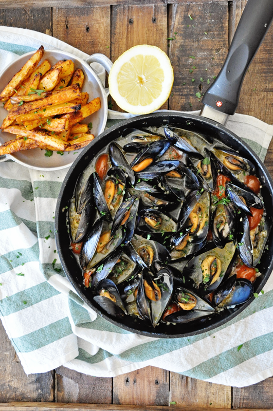 Drunken Mussels with Paprika Garlic French Fries