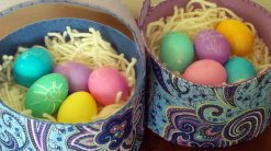 easter baskets with eggs