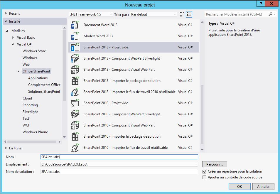 Création d'un type de contenu externe et utilisation du secure store service  via Visual Studio 2012 (1/6)