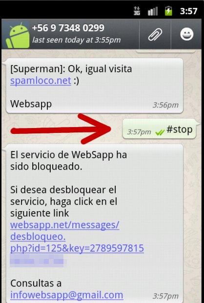 stop websapp para bloquear mensajes