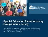 "Cover page of SEPAG Guide-image of adults holding signs reading ""Inclusion, Tools, Tips, Parent Input, Collaboration, Student Centered Learning, Strategies"""