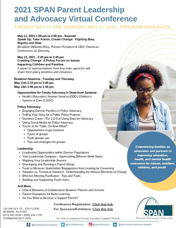 SPAN Parent Leadership Virtual Conference Highlights Flyer image