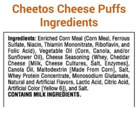 Cheetos Puffs Ingredients